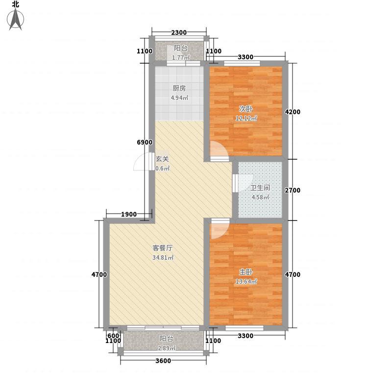 香槟蓝湾17.60㎡B户型2室2厅1卫