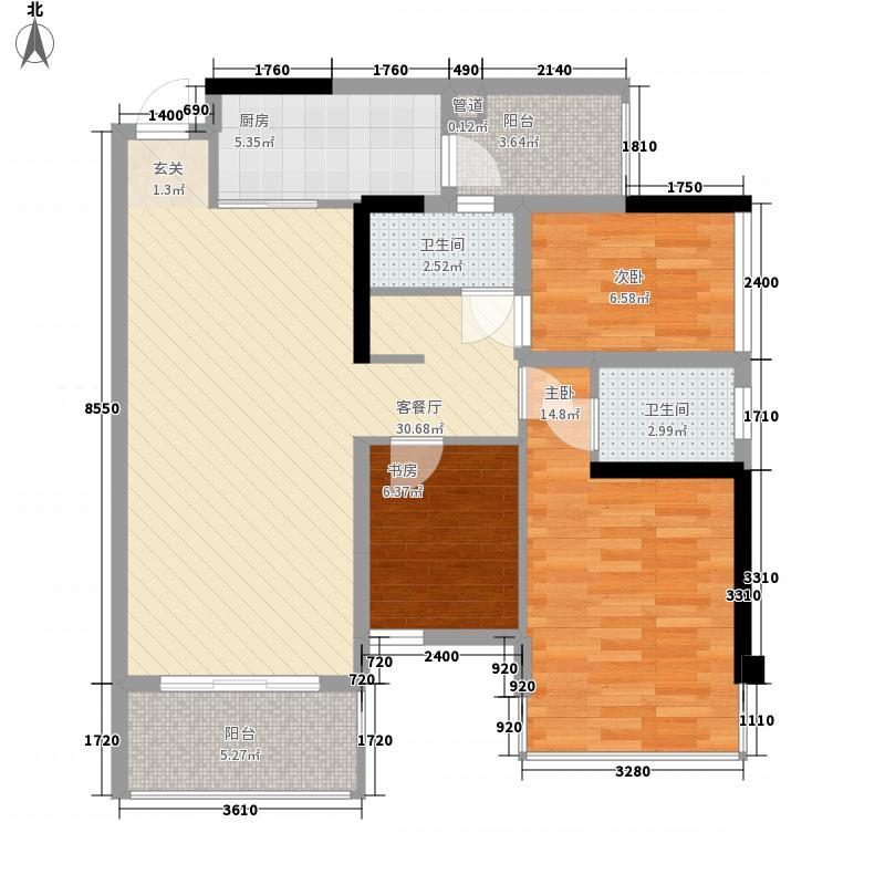 盛天公馆|88街区88.00㎡5#楼A座02户型2室2厅2卫1厨