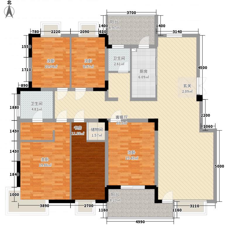 紫庐181.00㎡二期01栋标准层A1户型5室2厅2卫1厨