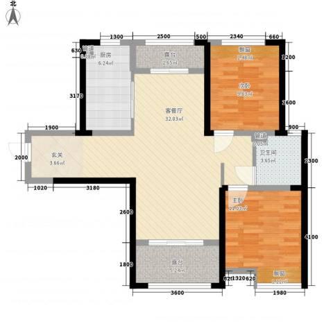 藏珑大连海2室1厅1卫1厨103.00㎡户型图