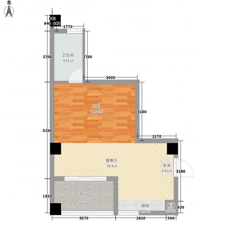 兴业城B户型2室1厅1卫1厨
