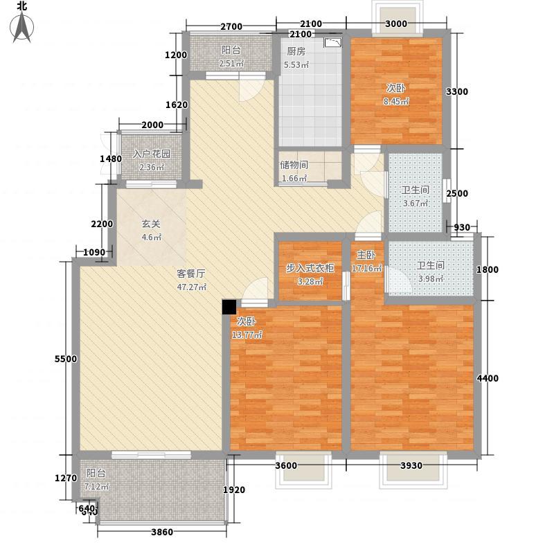 紫庐141.00㎡二期4号楼标准层c2户型3室2厅2卫1厨