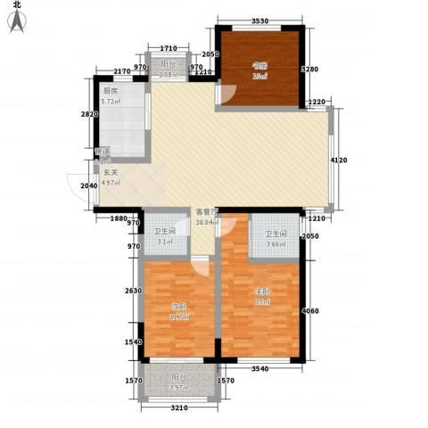 世纪华城3室1厅2卫1厨133.00㎡户型图
