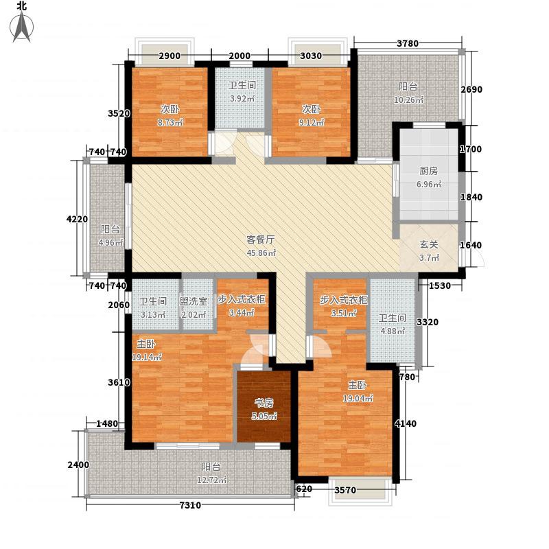 天隽峰223.00㎡天玺17#楼C户型4室2厅3卫1厨