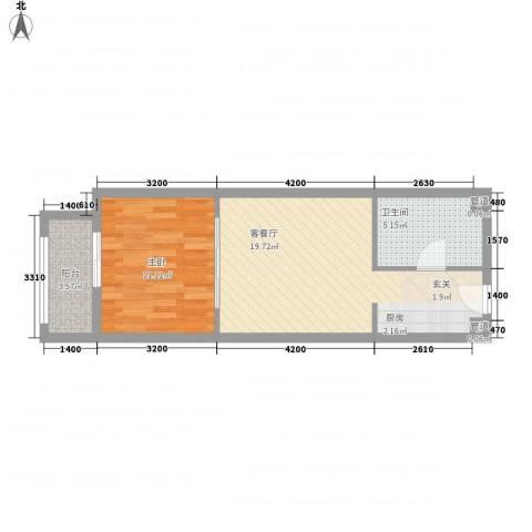 一等海1室1厅1卫0厨57.00㎡户型图