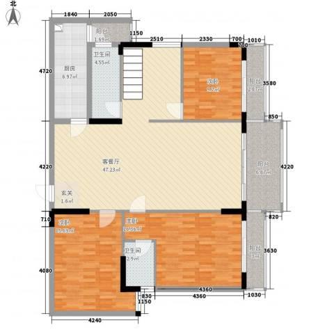 安泰大厦3室1厅2卫1厨223.00㎡户型图