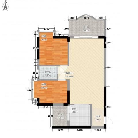 安泰大厦2室1厅1卫1厨64.43㎡户型图
