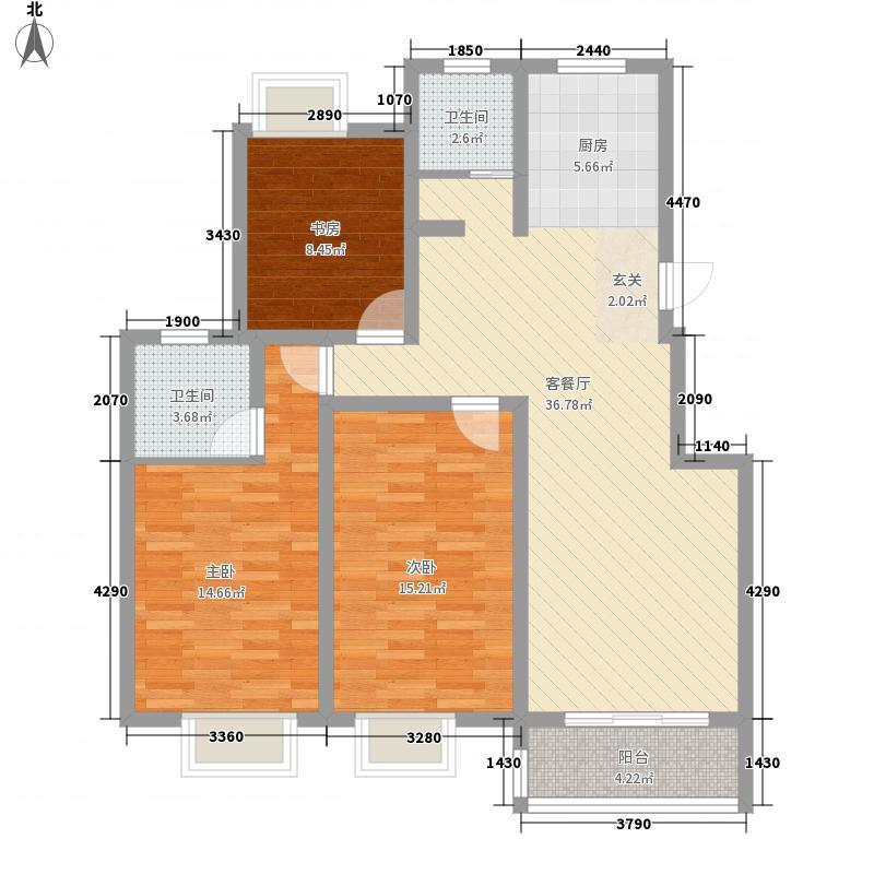 新城生态花园123.20㎡K户型3室2厅2卫1厨