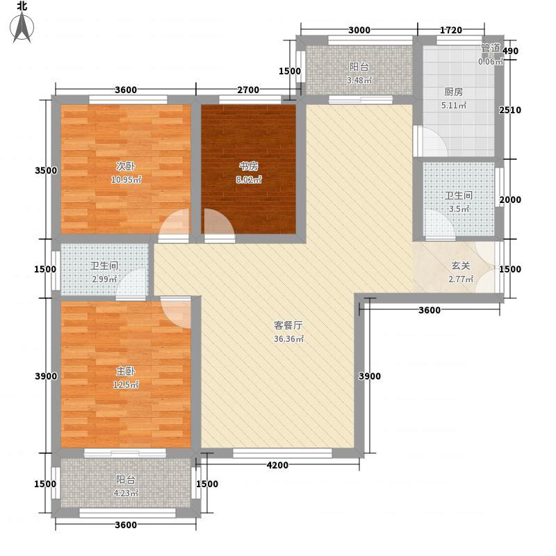 银河广场A1户型3室2厅2卫1厨