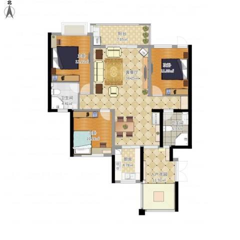 滨湖世纪城徽杰苑3室1厅2卫1厨148.00㎡户型图