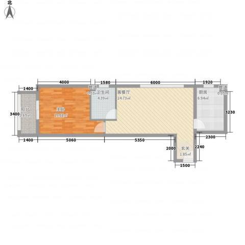 一等海1室1厅1卫1厨76.00㎡户型图