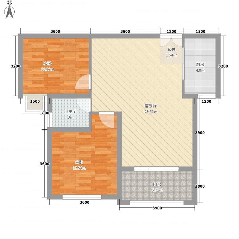银河广场B2户型2室2厅1卫1厨