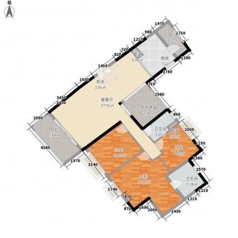 锦城南苑3室1厅2卫1厨156.00㎡户型图
