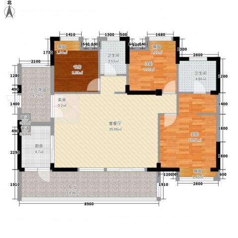 新开苑3室1厅2卫1厨147.00㎡户型图