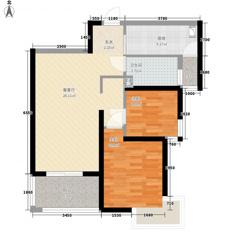 天隽峰85.00㎡11#B户型2室2厅1卫1厨