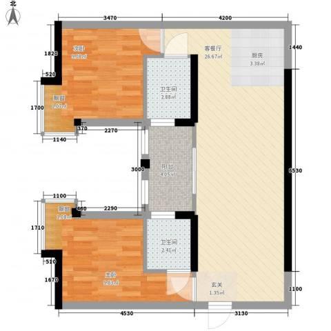金领中心2室1厅2卫0厨84.00㎡户型图