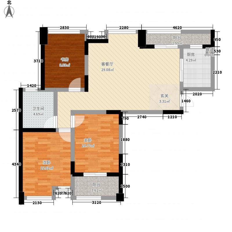 世纪华城121.00㎡A1户型3室2厅1卫1厨