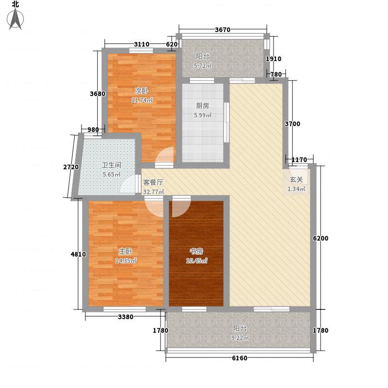 绿洲书苑147.00㎡户型3室