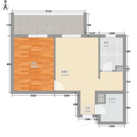 华景西苑1室1厅1卫1厨82.00㎡户型图