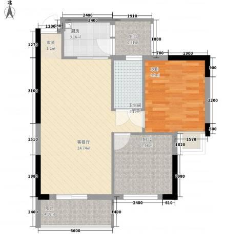 ��荟1室1厅1卫1厨65.00㎡户型图