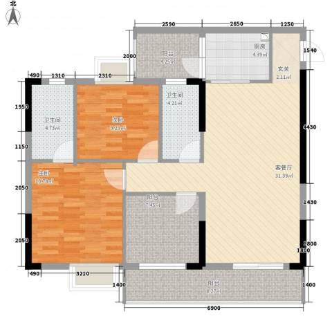 ��荟2室1厅2卫1厨87.75㎡户型图