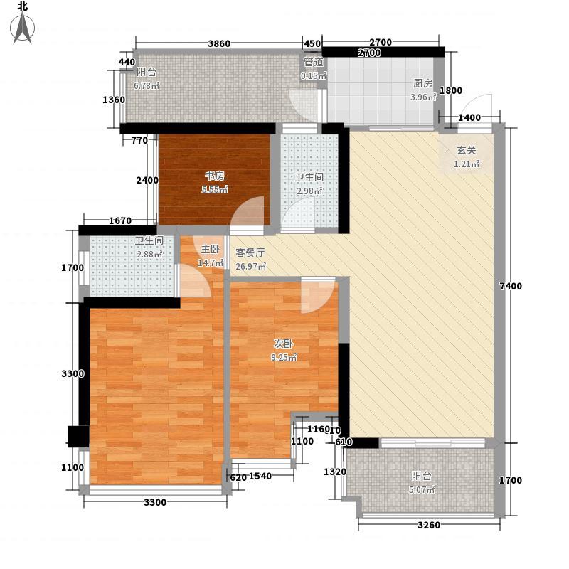 盛天公馆|88街区85.00㎡2#楼05户型2室2厅2卫1厨