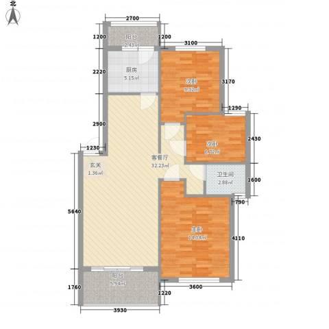 华景西苑3室1厅1卫1厨111.00㎡户型图