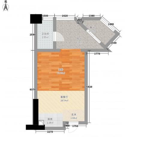 利豪名郡1厅1卫0厨34.13㎡户型图