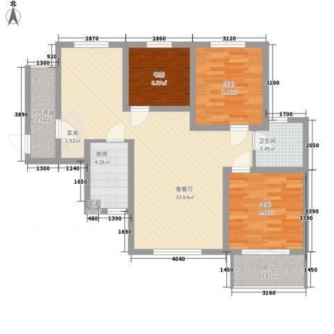 华景西苑3室1厅1卫1厨85.00㎡户型图