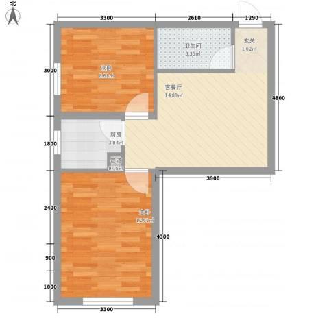 福佳新都市2室1厅1卫1厨61.00㎡户型图