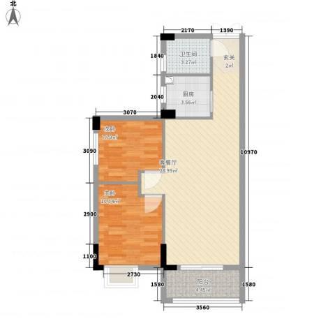 利豪名郡2室1厅1卫1厨83.00㎡户型图