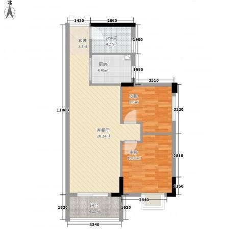 利豪名郡2室1厅1卫1厨86.00㎡户型图