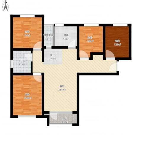 鸿坤・理想湾4室1厅1卫1厨117.00㎡户型图