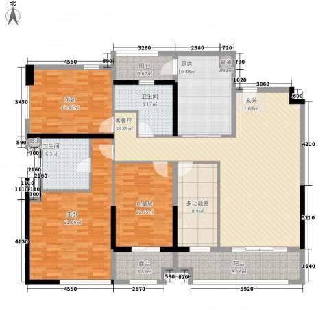 万科金御华府3室1厅2卫1厨165.00㎡户型图