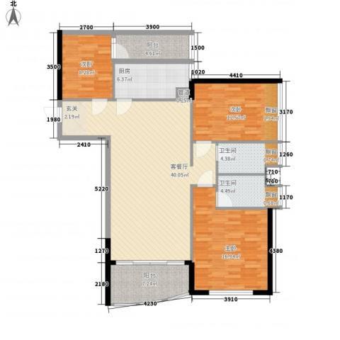 华景西苑3室1厅2卫1厨105.17㎡户型图
