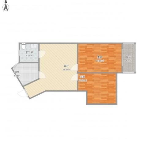 三和温泉小区2室1厅1卫1厨87.00㎡户型图