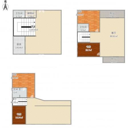 穆天子山庄4室3厅3卫1厨559.00㎡户型图