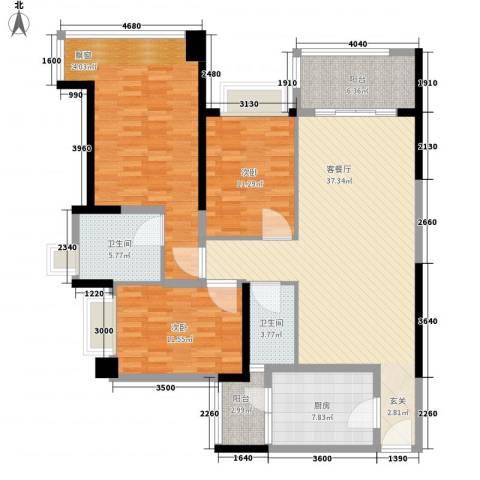 雅居乐约克郡3室1厅2卫1厨115.00㎡户型图
