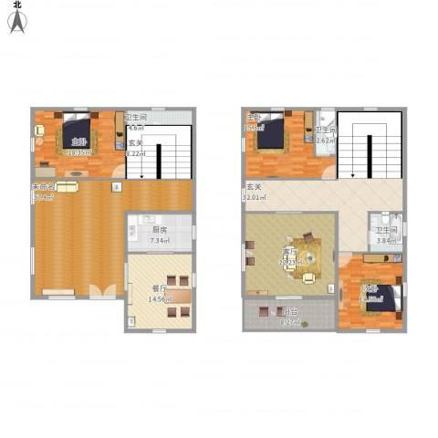 凤舞家园3室2厅3卫1厨258.00㎡户型图