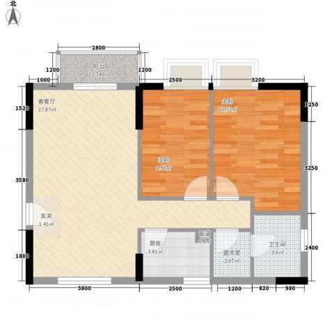 金桃园大厦2室2厅1卫1厨68.91㎡户型图