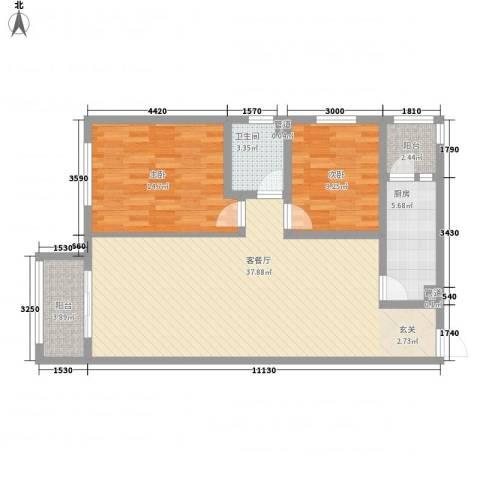 一等海2室1厅1卫1厨77.32㎡户型图