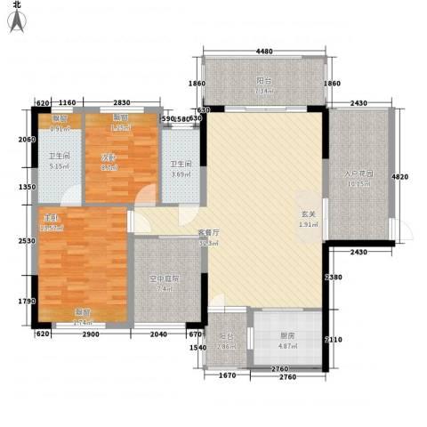 瑞峰爱地2室1厅2卫1厨96.03㎡户型图