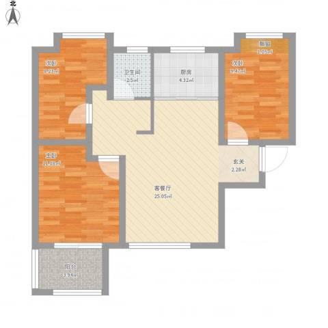 荣盛・白鹭岛3室1厅1卫1厨94.00㎡户型图
