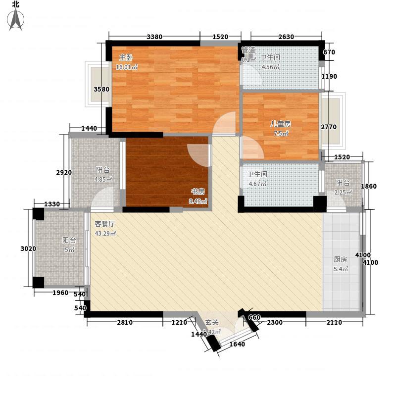 永凯现代广场76.00㎡户型3室