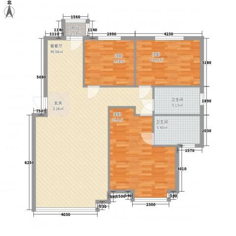 香格里拉花园二期3室1厅2卫0厨123.00㎡户型图