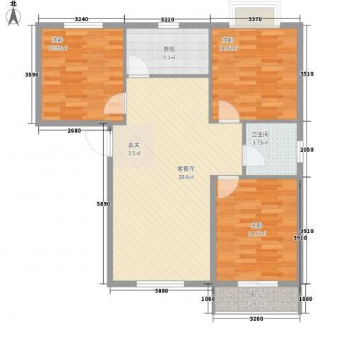 兴发城东逸景3室1厅1卫1厨83.00㎡户型图