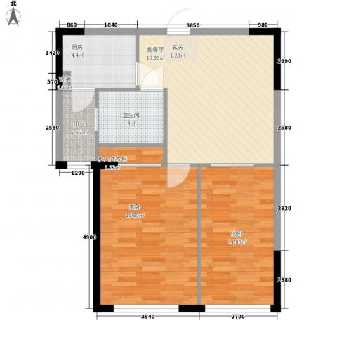 华景西苑2室1厅1卫1厨82.00㎡户型图
