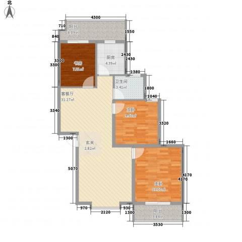 兴发城东逸景3室1厅1卫1厨118.00㎡户型图