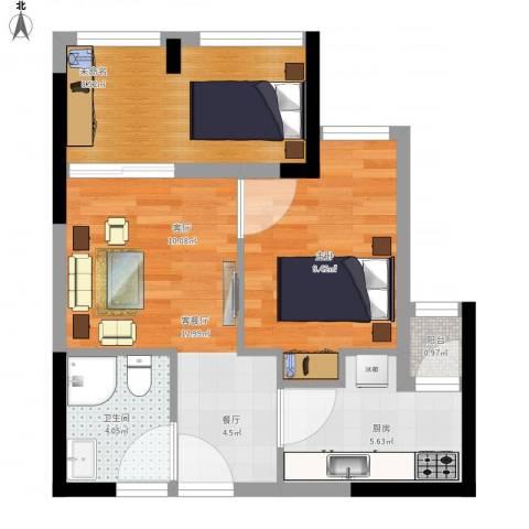 东原D8公馆1室1厅1卫1厨61.00㎡户型图