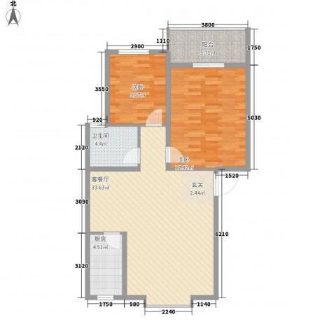 兴发城东逸景2室1厅1卫1厨74.64㎡户型图